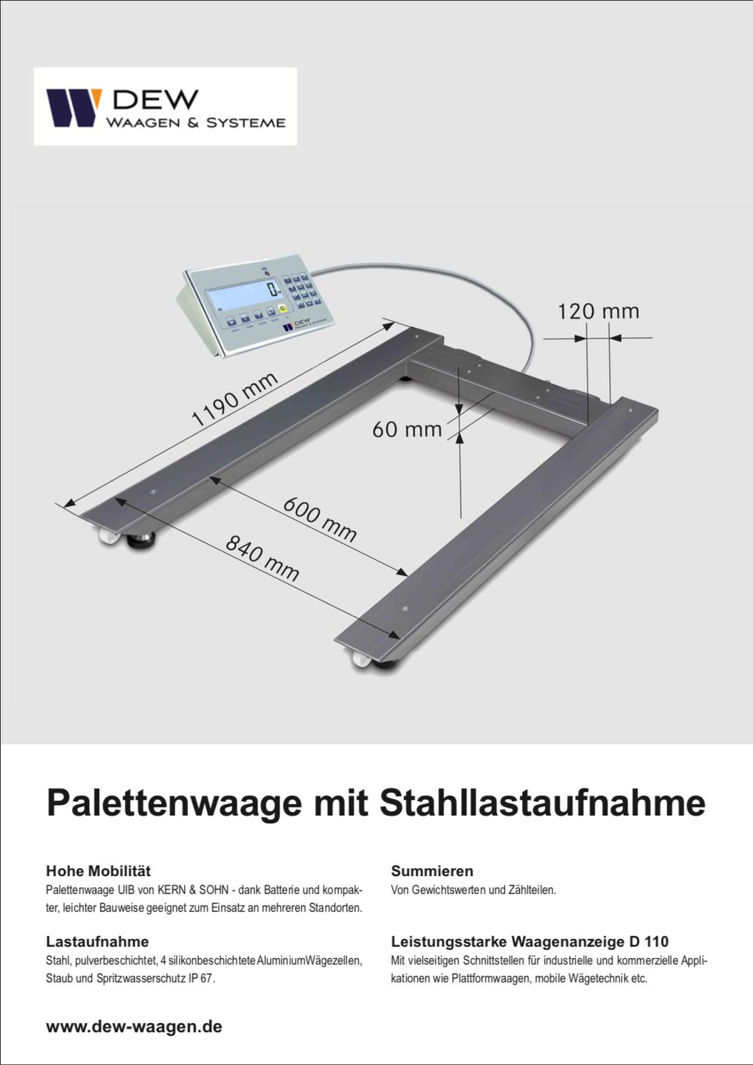 Palettenwaage mit Stahllastaufnahme